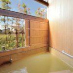 木目調の落ち着いた雰囲気の浴槽で、自然を感じながらゆったり過ごせる